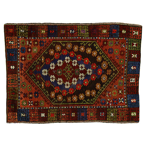 "Turkish Oushak Rug, 4'1"" x 5'4"""