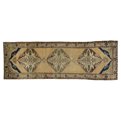 Vintage Turkish Oushak Runner, 3'7x10'8