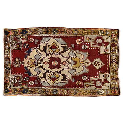 Vintage Turkish Oushak Rug, 3'7x6'1