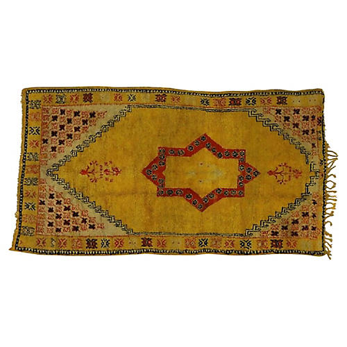 "Yellow Moroccan Rug, 4'11"" x 8'9"""