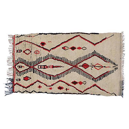 Vintage Berber Moroccan Rug, 4'6 x 7'6