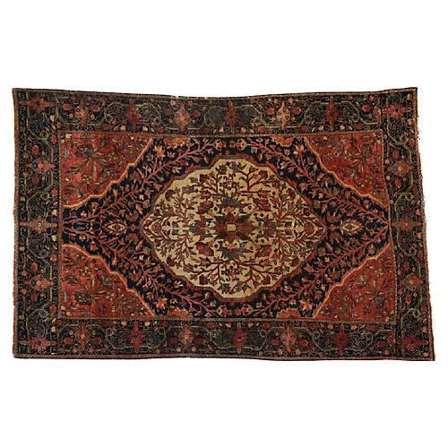 "Antique Persian Farahan Rug, 4'3"" x 6'3"""