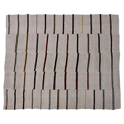 """Ivory Stripe Kilim, 10'2"""" x 12'4"""""""