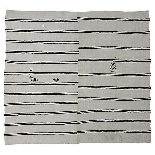 Ivory-Black Stripe Kilim Rug, 12' x 13'3