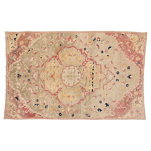 Turkish Oushak Pastel Rug, 4'3 x 6'7