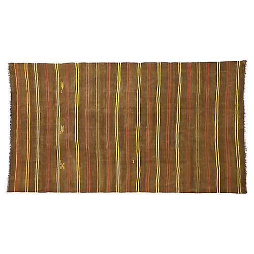 Turkish Striped Kilim Rug, 7'4 x 13'00