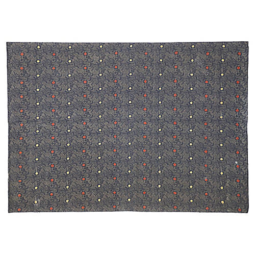 Embroidered Silk Rug, 7'11 x 11'2