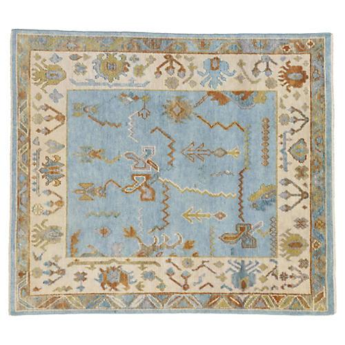 Sky Blue Oushak Rug, 5'10 x 6'7