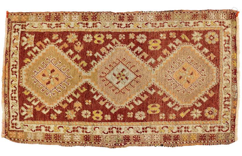 Vintage Turkish Yastik Rug, 1'8 x 2'10