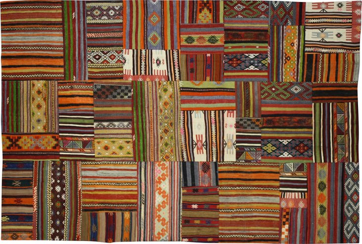 "Kilim Turkish Patchwork Rug, 6'7"" x 9'9"""