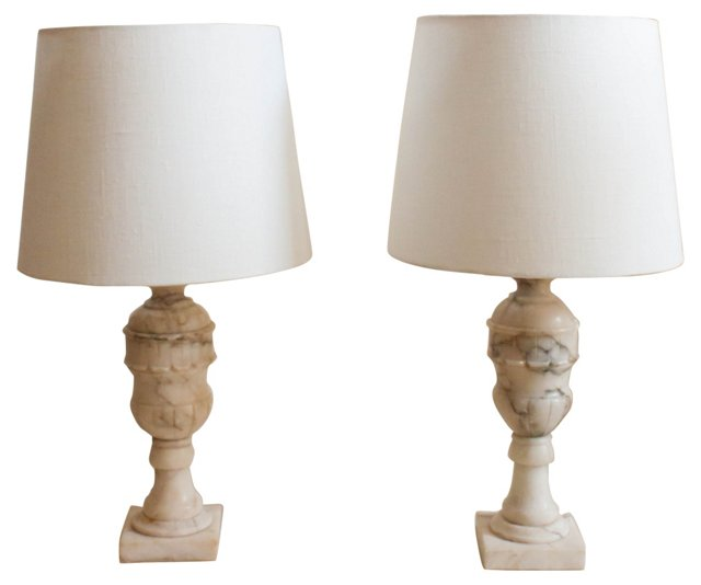 Carved Alabaster Lamps, Pair