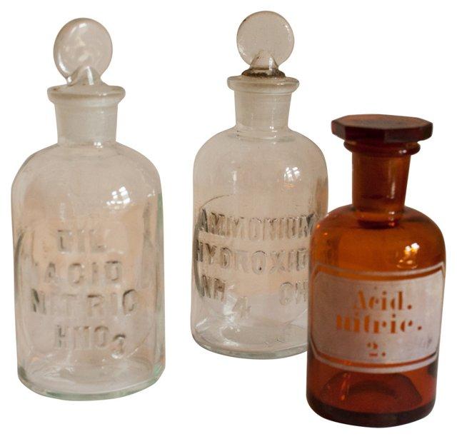 Antique Pharmacy Bottles, S/3