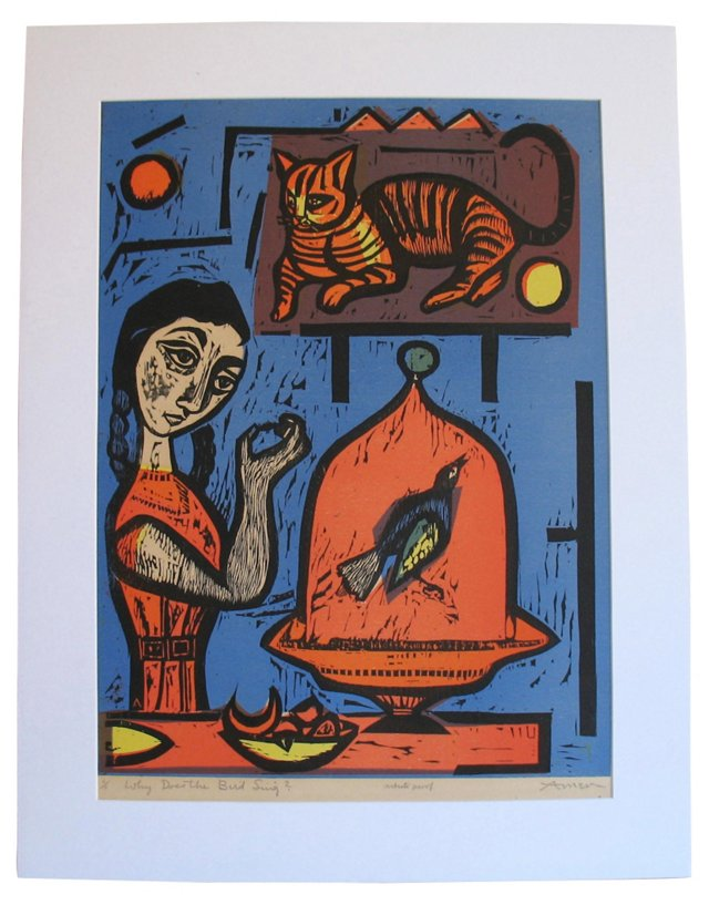 1950's Woodcut by Irving Amen