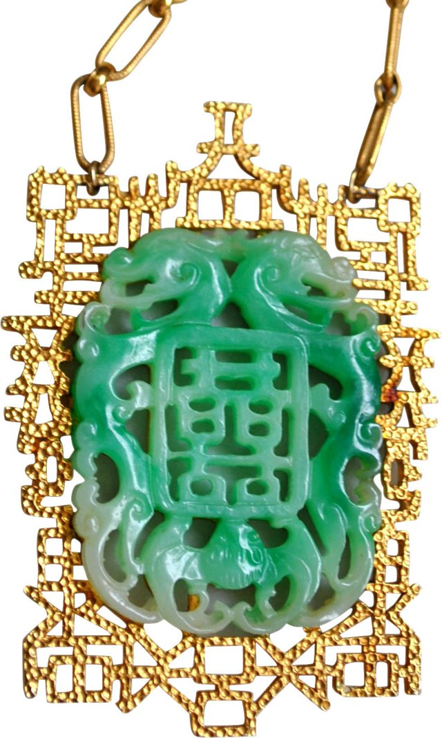 Vendome Faux-Jade Pendant Necklace