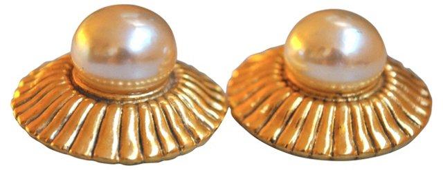 Chanel Glass Pearl Earrings