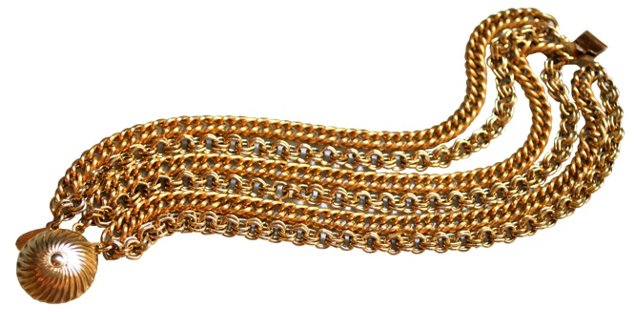 Retro Multi-Strand Goldtone Bracelet