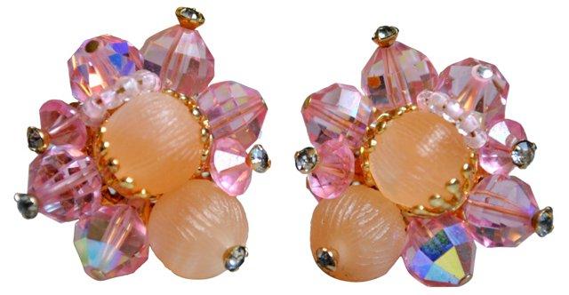 Pink Vendome Crystal Earrings