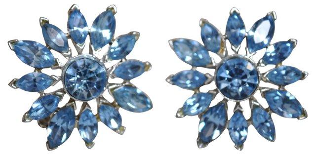 Ice Blue Rhinestone Flower Earrings