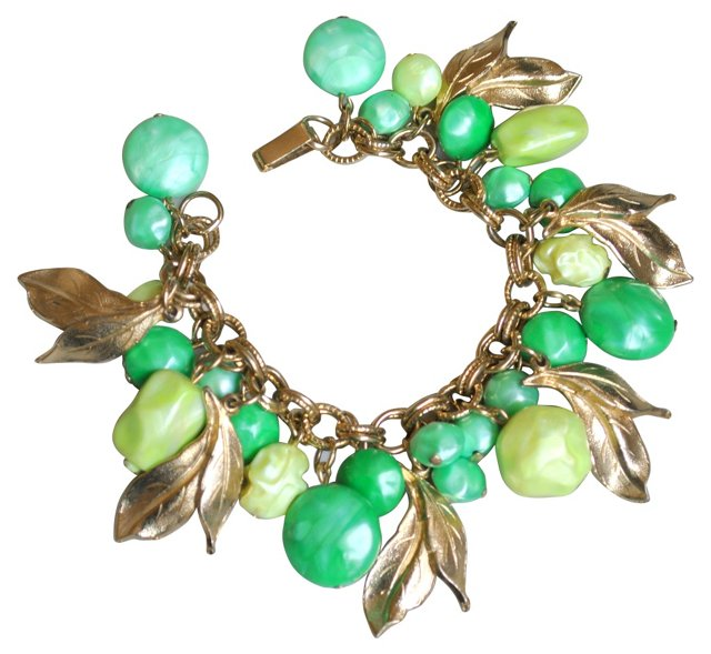 Lucite Bauble & Goldtone Charm Bracelet