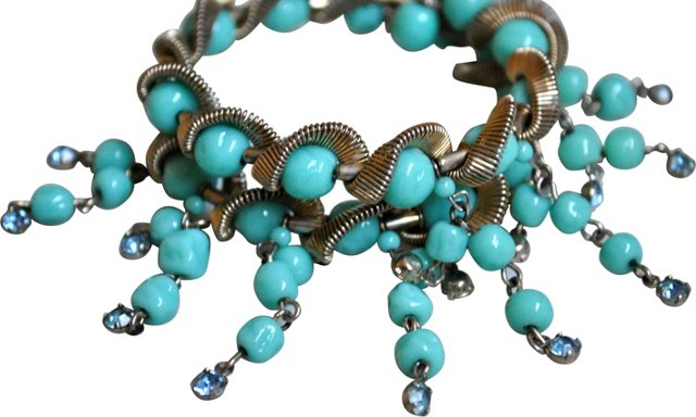 Turquoise Bead Rhinestone Coil Bracelet