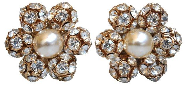 Rhinestone & Faux-Pearl Flower Earrings