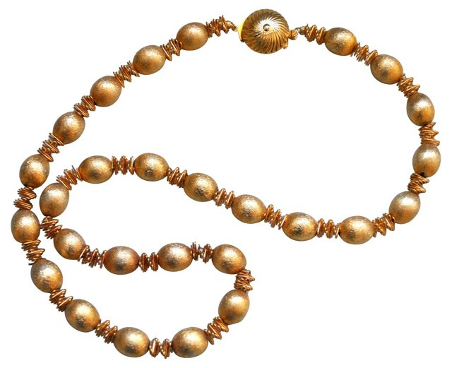 Midcentury Gold Bead Necklace