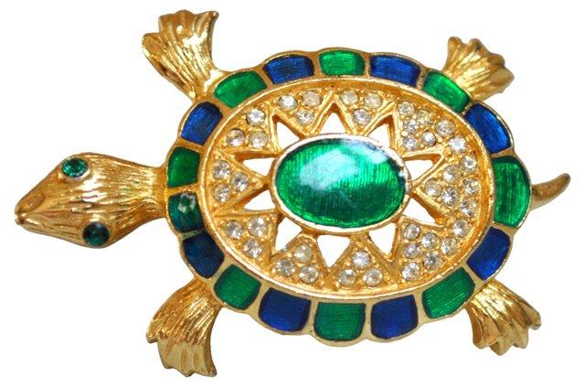 Enamel & Rhinestone Turtle Brooch