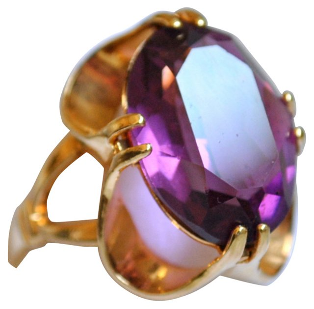 Glass Amethyst Cocktail Ring