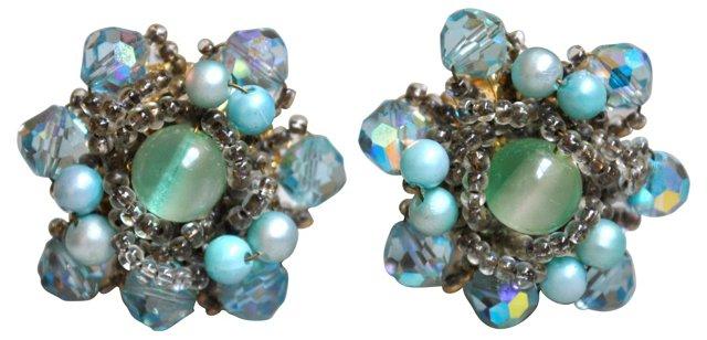 Vendome Aqua Crystal Earrings