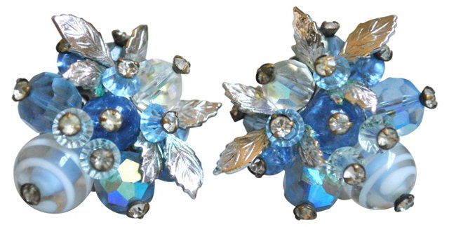 Vendome Blue Crystal & Silver Earrings