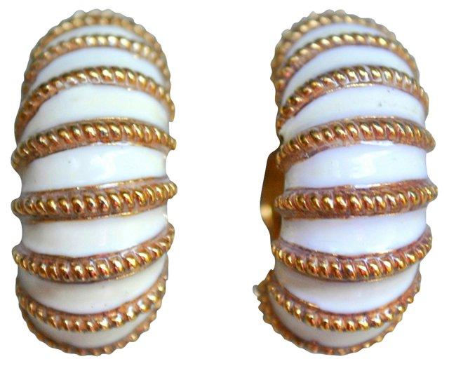 Ciner Gold & Ivory Enameled Earrings