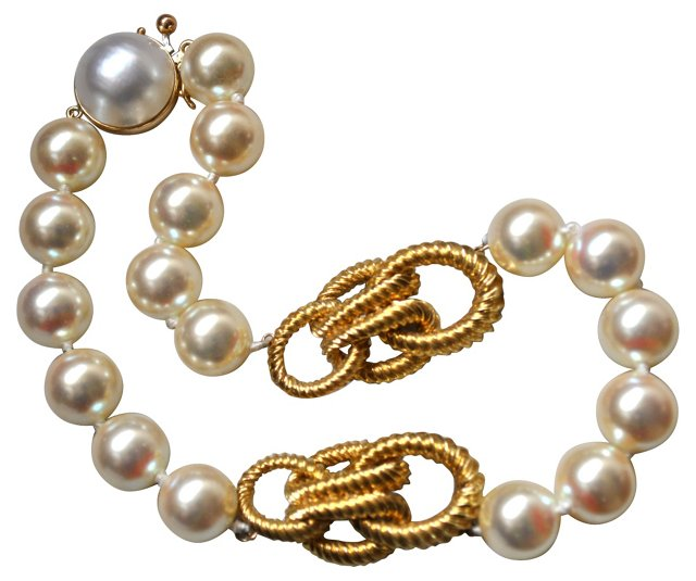 Glass Pearl & Gold-Plated Link Necklace
