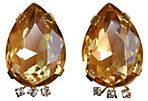 Glass Citrine Earrings w/ Rhinestones