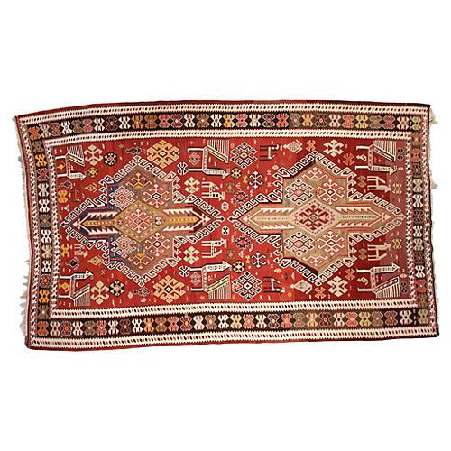 "Persian Caucasian Kilim, 6'6"" x 10'10"""