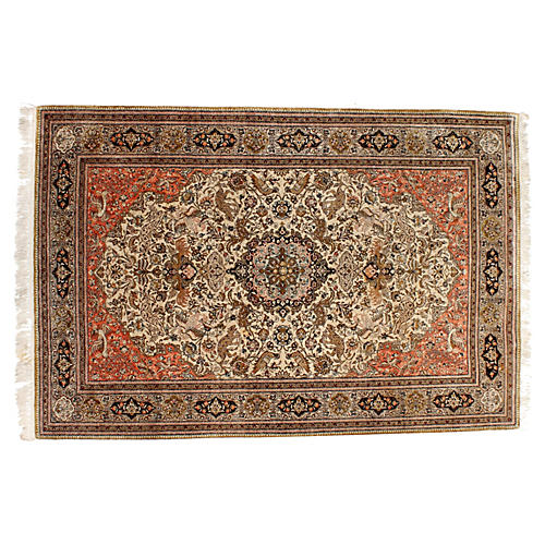 "Persian Silk Ghom Rug, 4'9"" x 7'"