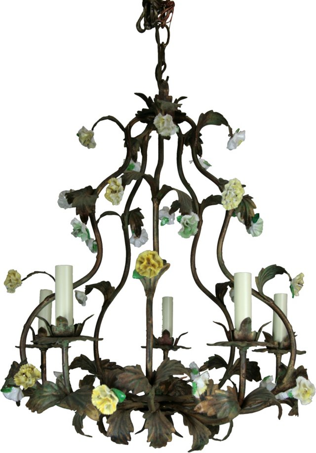 Italian Porcelain Flower Chandelier