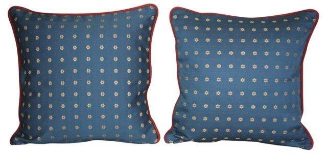Pillows w/ French Blue Daisy Silk, Pair