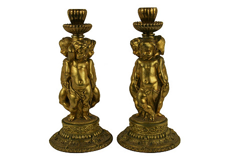 19th-C Italian Bronze  Candleholders S/2