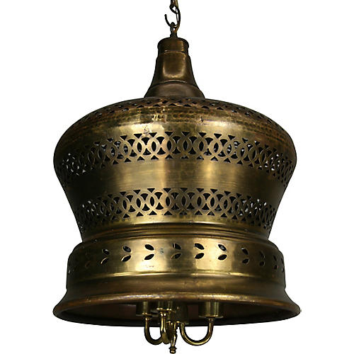 Large Pierced Brass Pendant