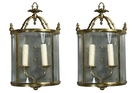 Curved Glass Sconces, Pair