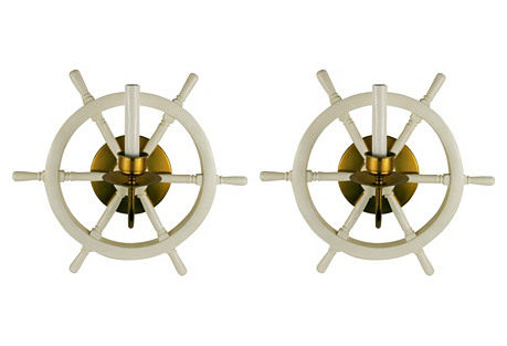 Ship's Wheel Sconces, Pair