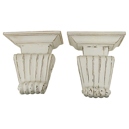 Italian Hand-Carved Wall Shelves, S/2