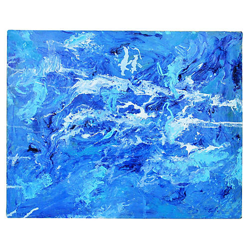 Abstract Blue Water Painting