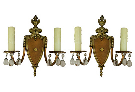 1920s Two-Light Crystal Sconces, S/2