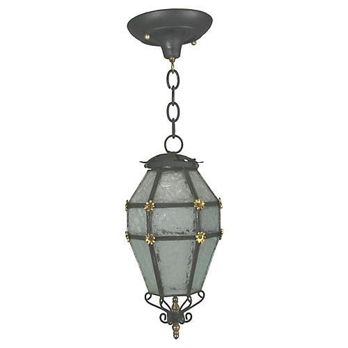 French Blackened & Etched Glass Lantern