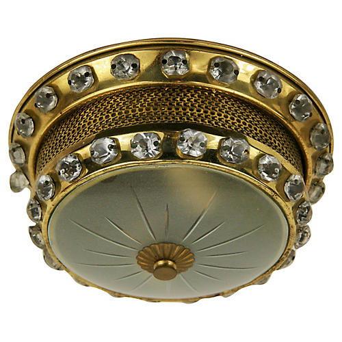 Beaded Brass Flush Mount