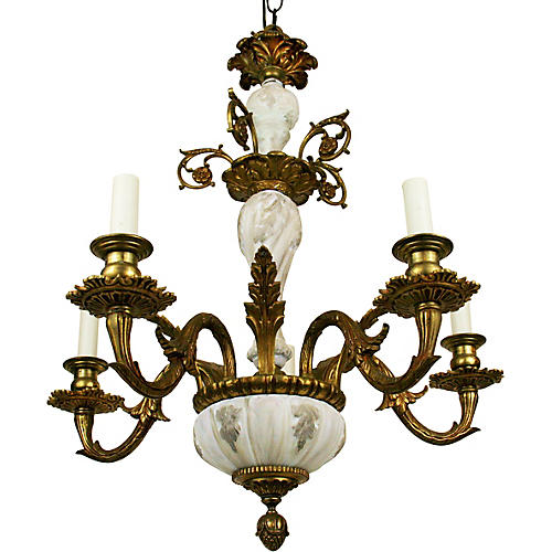 Porcelain Bronze Chandelier