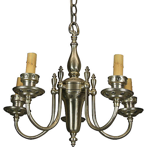English Silver-Plate Chandelier