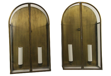 Archtop Lantern  Sconces, Pair