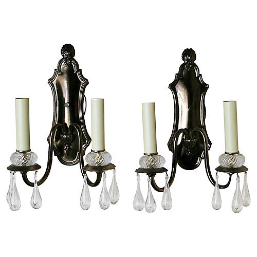 Shield-Back Crystal Sconces, S/2